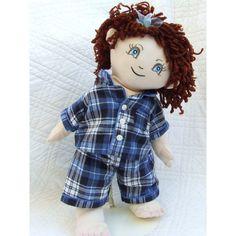 "Cuddly 18"" Girl Rag Doll In Blue Tartan Pyjamas Build A Bear, Rag Dolls, Stuffed Animals, Pyjamas, Tartan, 18th, Hair Color, Teddy Bear, Costumes"
