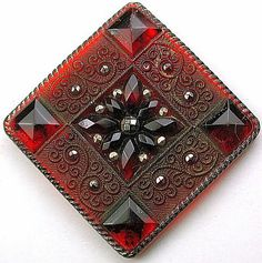Antique Lacy Glass Button Square Ruby Red w Silver Luster 1 & 1/2 Diagonally.