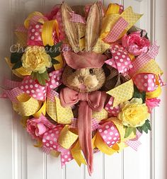 Easter Wreath Floral Easter Wreath Easter by CharmingBarnBoutique