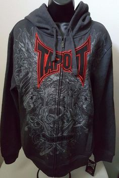 "TapouT NWT Men's Gray/Red/Black ""Simply Believe"" Zipper Front Hoodie Size M #TapouT #ZipperFrontHoodie"