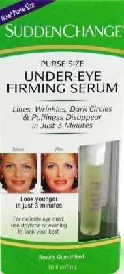 """Sudden Change Under-eye Firm Serum .10 oz. Purse Size (3-Pack) with Free Nail File by Sudden Change. $16.49. Lightweight Purse Size Bottle Fits in your Make-up Bag for a Quick Touch-up.. Instantly Solves those Unsightly Wrinkles and Bags that can form under your Eyes.. For a Non-surgical Under-eye """"Lift"""" whenever you need it.. Lines, Wrinkles, Dark Circles and Puffiness Disappear in Just 3 Minutes.. Instantly Solves those Unsightly Wrinkles and Bags that can form under your ..."""