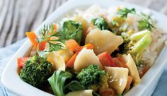 Thai green vegetable and coconut curry #recipe.