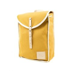 Yellow Heap Backpack ($99) ❤ liked on Polyvore featuring bags, backpacks, day pack backpack, leather drawstring backpack, retro leather backpack, nautical backpack and leather rucksack