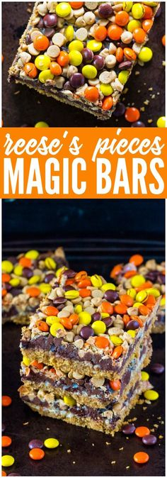 These Reese's Magic Cookie Bars are perfect for Kids Halloween or Thanksgiving Treats. Magic Cookie Bar Recipes make an easy dessert or a quick afternoon snack!