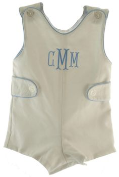 Boys White Shortall Outfit with Blue Trim Monogrammable - Hiccups Childrens Boutique