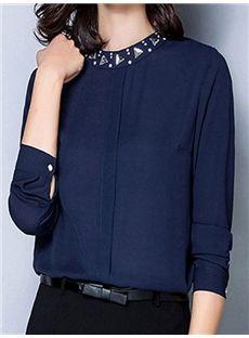 Round Collar Nail Dri Long-sleeved Shirt