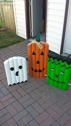Halloween Scene, Outdoor Halloween, Halloween Crafts, Fall Crafts, Halloween Ideas, Landscape Timber Crafts, Landscape Timbers, Fall Landscape, Wood Log Crafts