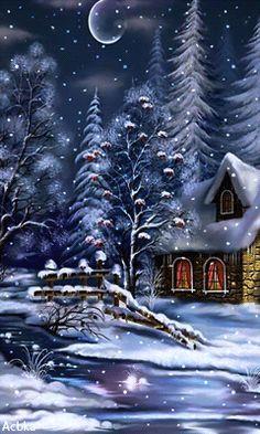 Download Animated 240x400 «новогодняя ночь» Cell Phone Wallpaper. Category: Holidays