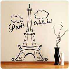 Paris Eiffel Tower Ooh La La Wall Decal Decor France Love Hearts Large Nice Sticker - Amazon.com