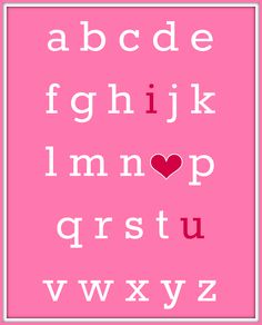 Valentine's Day ABC I Love You Free Printable
