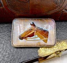 VINTAGE EQUESTRIAN CUFFLINKS Fox Hunting Steeplechase Hunter Jumper Horse Show Intaglio Bubble Essex Glass Swank