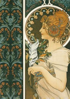 """""""Feather,"""" 1899 and """"Documents decoratifs,"""" 1902 by Alphonse Mucha (1860-1939)."""