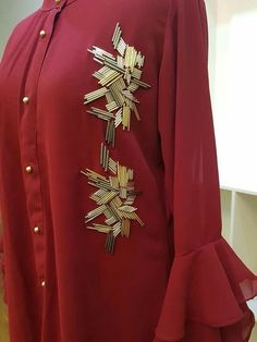 Ideas embroidery stitches letters fabrics for 2019 Hand Embroidery Dress, Embroidery Neck Designs, Bead Embroidery Patterns, Couture Embroidery, Embroidery Suits, Embroidery Fashion, Beaded Embroidery, Embroidery Stitches, Mode Abaya