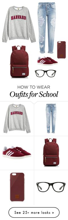 """""""Lazy school day"""" by anaccountforclothes on Polyvore featuring Dsquared2, H&M, adidas, Herschel Supply Co. and Native Union"""