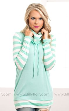 Cozy up in this cowl top on cool Spring days!