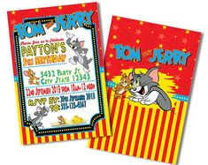 Tom and Jerry Invitations, Tom & Jerry Invitations, Invitation, Invitations, Tom and Jerry Invitation, Tom and Jerry Birthday Invitations