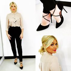 """Tuesday's look on @itvthismorning ... Trousers by @worldmcqueen  shirt by @insidejigsaw  shoes by @officeshoes and lipstick (as inspired by my mother!)…"""