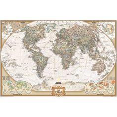 The map features a Tripel Projection, which reduces distortion of land masses as they near the poles. World Wall Map by National Geographic: Executive, Earth-toned, Antique Style. About national Geographic. World Map Mural, World Map Wallpaper, World Map Poster, Of Wallpaper, Globe Wallpaper, Travel Wallpaper, Adhesive Wallpaper, Antique World Map, Old World Maps