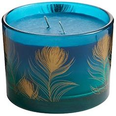 Peacock Filled Candle - would go great on my dinind table with my turqouise dinnerware!