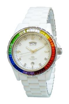 """Oniss Paris Women'S ON6201-L Wht """"Princess Bello"""" Rainbow Collection Ladies All Ceramic S/S Bezel with 60 Colors Baguettes Crystals Day/Date Swiss Parts Movement - White Watch Oniss. $360.00. Swiss quartz movement. Unscratchable sapphire crystal. High tech white ceramic band and case, silver tone bezel crafted with 59 pcs. Baguette colored austrian crystals on the bezel.. Mother-of-Pearl dial with day - date window, 8 pcs. White rund austrian crystal. Water-resistant to 3..."""