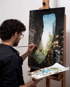 David Ambarzumjan, an artist in Germany, will paint a detailed landscape, then brush across the middle of it. On that brushstroke, he paints a glimpse of Artist Painting, Artist Art, Art Amour, Surreal Art, Famous Artists, Brush Strokes, Oeuvre D'art, Cool Artwork, Amazing Artwork