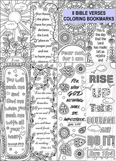 Eight Bible verse coloring bookmarksThe ZIP folderincludes - one PDF file with 8 bookmark templates - 2 jpeg files- plus one complimentary page (included in the pdf file)The bookmark dimension is 2.0 x 6.5 inches eachat 300 dpi resolution and print compatible to 8.5 x 11 inches papers.