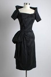 1950's Black Sculptural Cocktail Dress