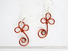 Earrings: enameled copper wire