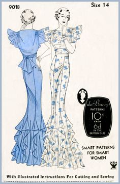 floor sweeping gown with cascading ruffles at hem and sleeves. Yoke at front bodice forms a waist cinching tie at back. Motif Vintage, Vintage Dress Patterns, Vintage Dresses, Vintage Outfits, Vintage Fashion, 1930s Fashion, Vintage Evening Gowns, Vintage Couture, Mode Inspiration