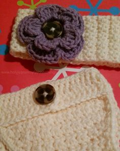 Matching Crochet Diaper Cover and Headband - FREE Crochet Pattern - Holyjeans and My Favorite Things