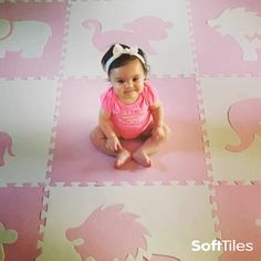 """SoftTiles Safari Animals in our new softer light pink! Perfect for creating designer decor in girls nurseries or playrooms. This play mat measures 6.5' x 6.5' with sloped borders. The sloped borders help transition from our high quality 5/8"""" thick mat to the floor."""