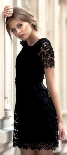Black Half Sleeves Lace Dress