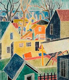 Backyards, white-line woodcut by Blanche Lazzell,  1876-1936, American artist)