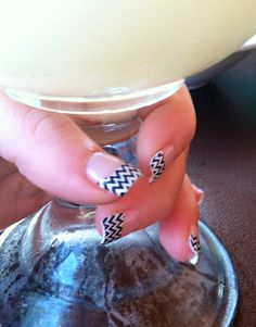 Chevron nails-can do these with my black and white chevron Jamberry!!!!!!!