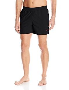 7356b2b3b9 Speedo Men's Deck Volley 16 Inch Swim Trunks, Black, X-Large Mens Swim