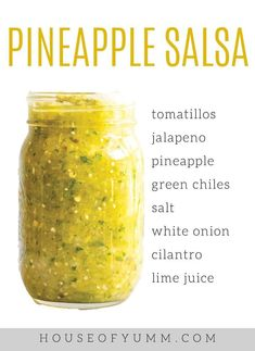 This blender salsa is loaded up with fresh pineapple tomatillos jalapeno and cilantro. Its bursting with a fresh sweet and spicy flavor that is perfect when paired with chicken or fish. - Blender - Ideas of Blender Salsa Guacamole, Jalapeno Salsa, Cilantro Salsa, Blender Salsa, Mexican Salsa Recipes, Pickles, Fresh Pineapple Recipes, Pineapple Salsa Recipe For Canning, Salsa Canning Recipes