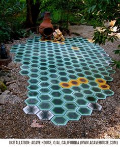 Colorful honeycomb tile design by Tracey Reinberg, Kismet tiles use a Moroccan-made cement that marries traditional craft with modern design. Patio Tiles, Outdoor Tiles, Outdoor Spaces, Outdoor Living, Outdoor Decor, Cement Tiles, Indoor Outdoor, Art Tiles, Outdoor Flooring