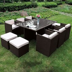 Richmond Garden 2016 Clearance Rattan Furniture Verano Cannes 6 Seater Mocha Brown Rattan Cube Patio Set
