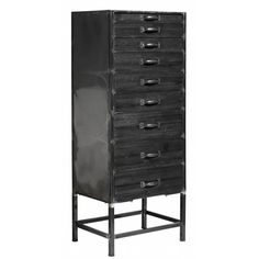 Dulap lemn si metal cu 9 sertare negru Nordal