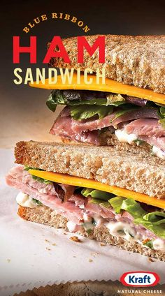 Our Blue Ribbon Ham Sandwich is a winner. A collection of star ingredients like fresh basil, garlic mayo and slow-cooked ham are accented by a golden slice of tangy KRAFT sharp cheddar cheese to create an epic sandwich for epic lunches. Great Recipes, Soup Recipes, Cooking Recipes, Favorite Recipes, Healthy Recipes, Recipies, I Love Food, Good Food, Yummy Food