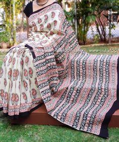 Beautiful  Kalamkari Block Printed Cotton Saree