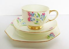 Paragon Handpainted China Cup and Saucer trio set