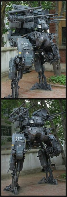 Mech statue from scrap metal and stuff. Our military should stop f**king around and start making this legged machine