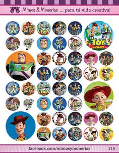 """Toy Story Bottle Cap Images 1"""" - Digital Collage Sheet 8.5x11"""" - Hair Bow Centers, Magnets, Stickers and Crafts - INSTANT DOWNLOAD"""