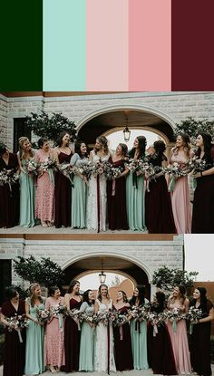 Todo lo que debes saber sobre el matrimonio cristiano. Conoce en detalle, ritos, tendencias, protocolo y algo más. Bodas Cristianas Pink Green Wedding, Maroon Wedding, Wedding Colors, Wedding Ideas, Wedding Trends, Wedding Inspiration, Mismatched Bridesmaid Dresses, Bridesmaid Dress Colors, Wedding Bridesmaid Dresses