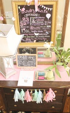 "First Birthday ""Stats"" Chalkboard Display - Plus, we love the idea of having guests leave their thumbprint to create a cute art print/keepsake! #firstbirthday"