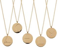 Alphabet Tag necklaces by Nigel Milne's Anna Kerr Round Pendant, Country Chic, Jewerly, Initials, Initial Necklaces, Gold Necklace, Pendants, Valentines, Wishful Thinking