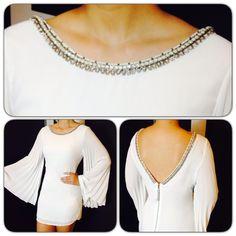 White Dress obsession!! Vestido blanco con mangas plisadas campana y apliques
