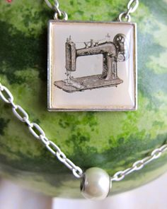 Sewing Machine Pendant Necklace by YonderCreations on Etsy, $22.00 Pearl Necklace, Pendant Necklace, Jewerly, Gift Ideas, Pearls, Sewing, Gifts, Etsy, String Of Pearls