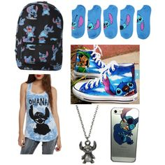 Lilo and Stitch back to school by fangirl-name on Polyvore featuring polyvore, мода, style, Disney, fashion and clothing